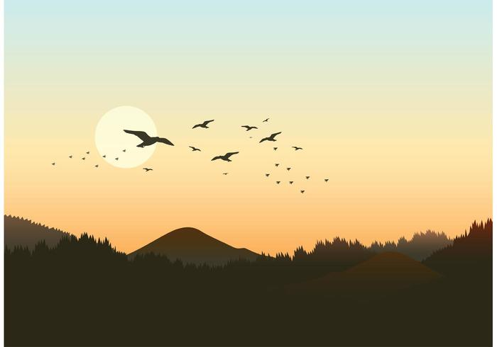 Free Forest Landscape With Flock Of Birds Vector