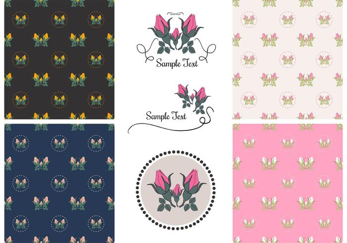 Free Vector Vintage Rose Patterns