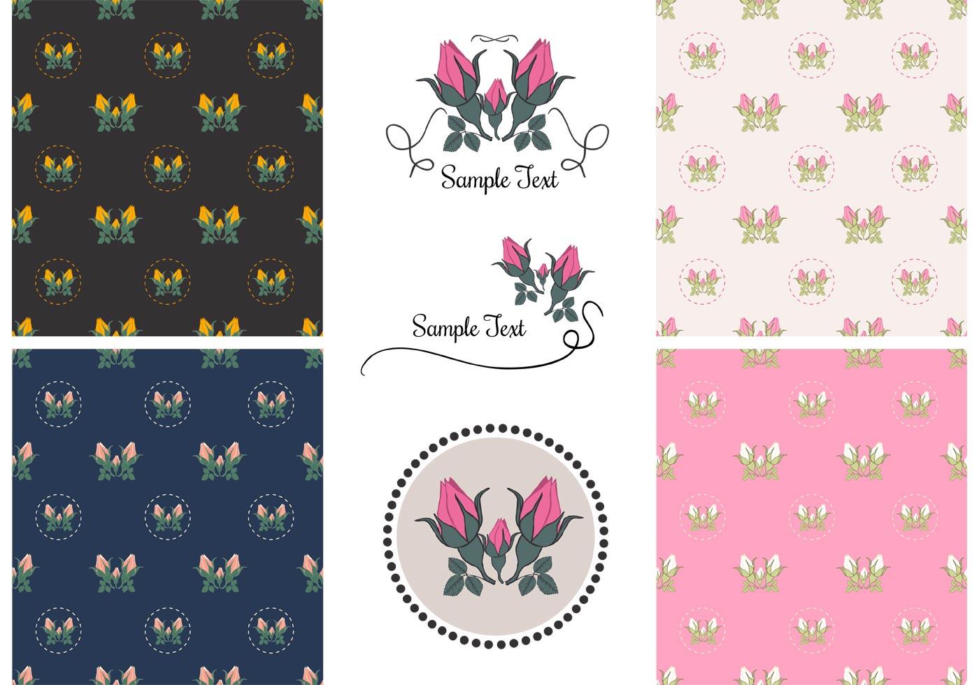Free Vector Vintage Rose Patterns - Download Free Vector ...