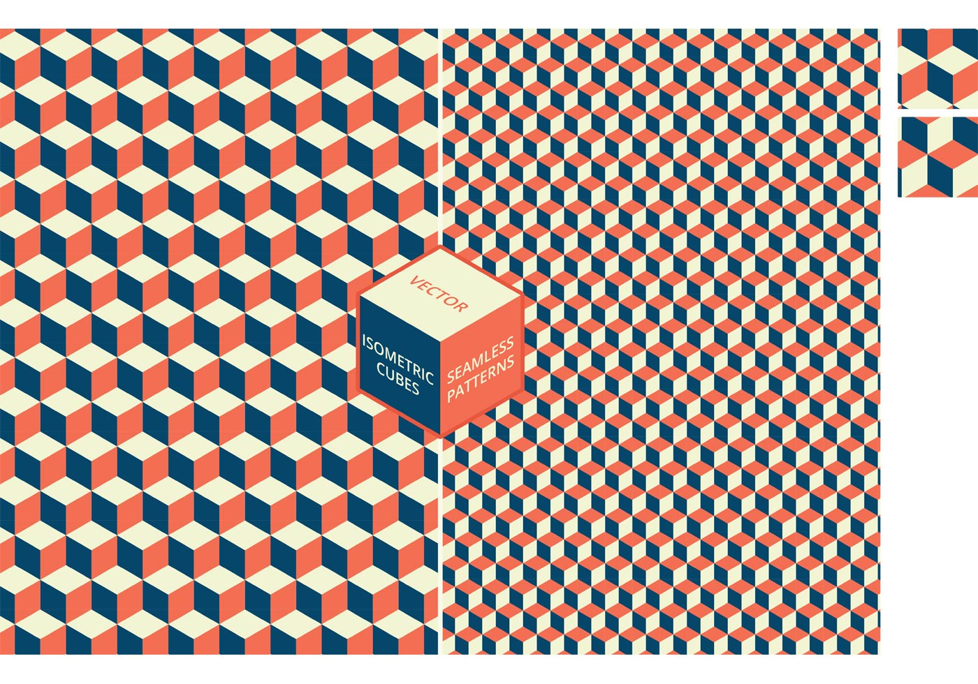 Isometric Cubes Seamless Vector Patterns - Download Free ...