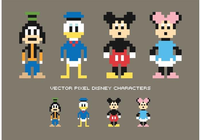 Personnages Vectoriels Pixel Disney Gratuits Telecharger