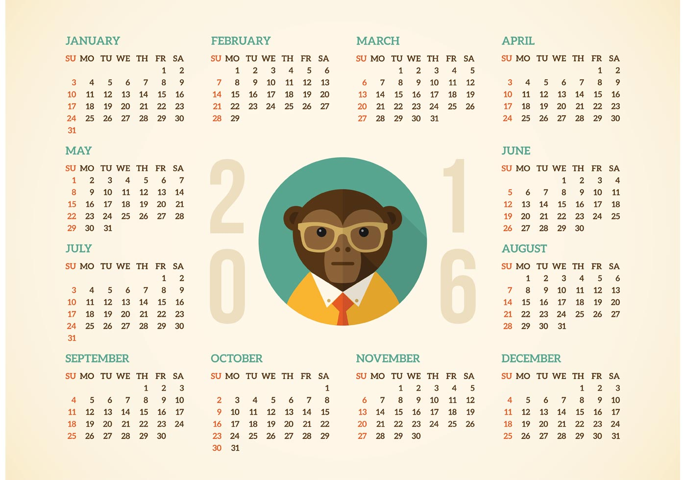 Free Calendar 2016 With Hipster Monkey Vector - Download Free Vector ...