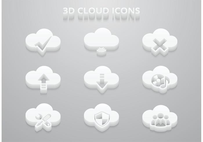Ícones grátis de vetor de nuvem 3D