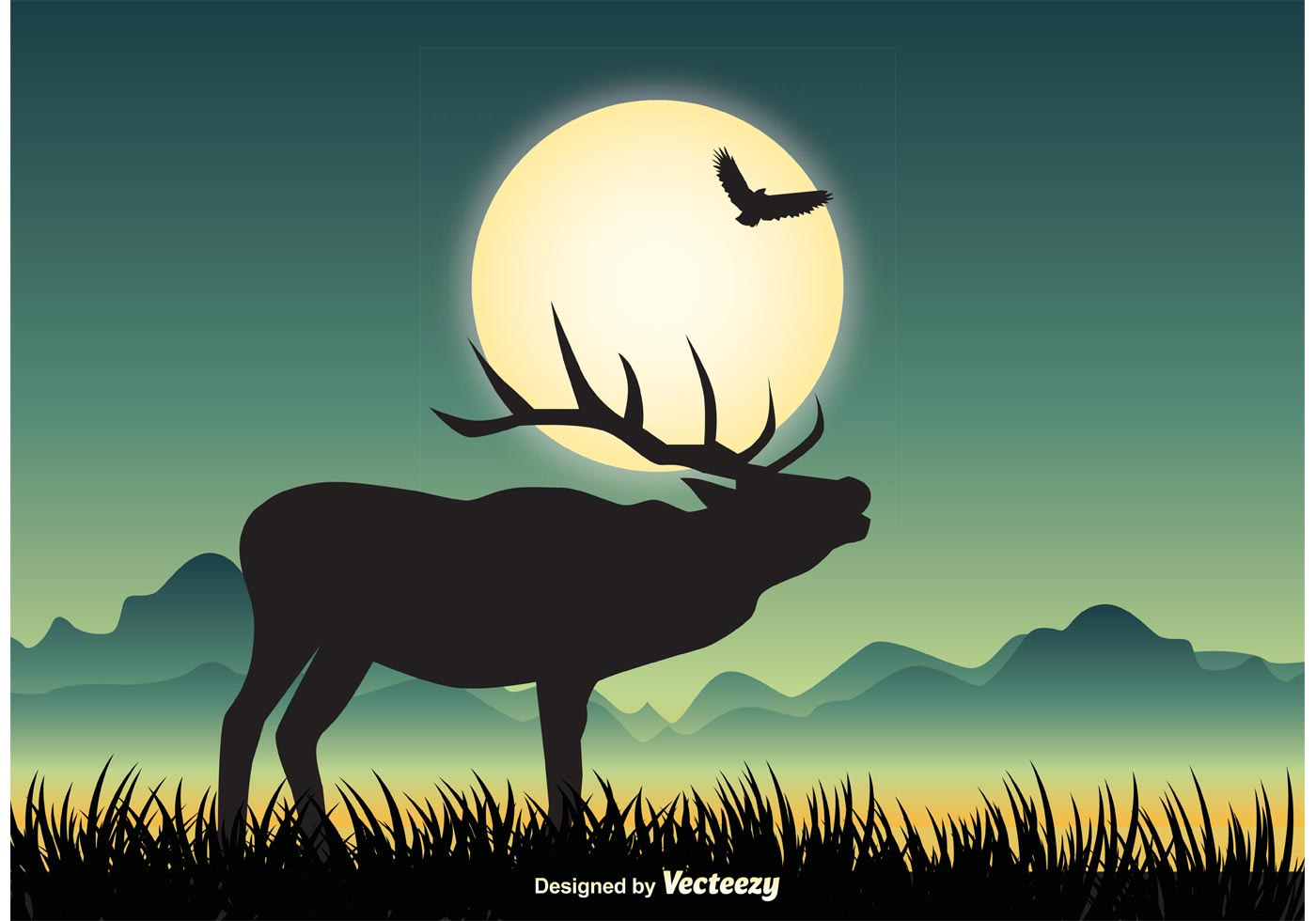 wildlife landscape illustration