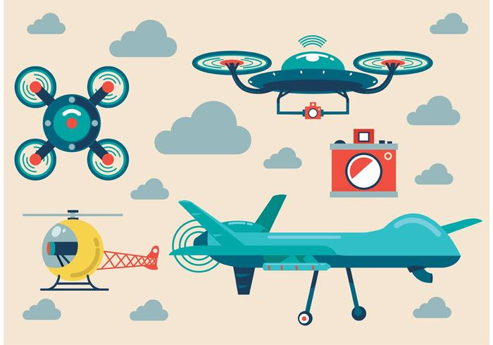 Airplane and Drone Vector Set