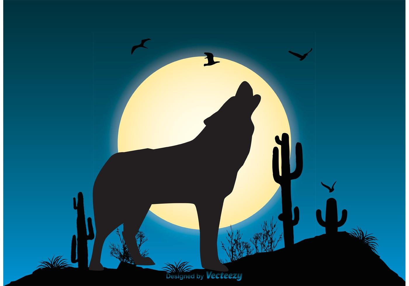 Wolf Scene Illustration Vector Moon Phase White Icons