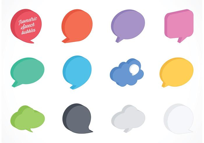 Free Vector Isometric Speech Bubbles