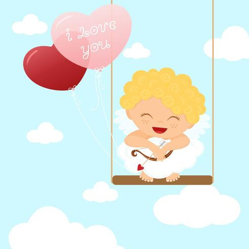 Free Vector Cute Cupid Kid On Swing