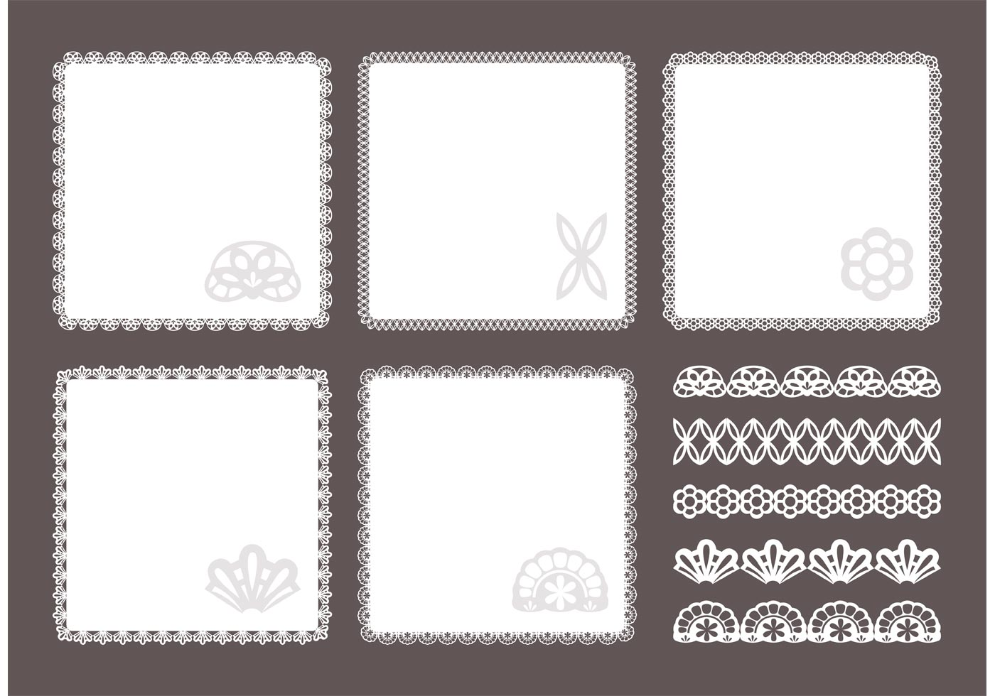 Free Square Doily Vector Set Download Free Vector Art