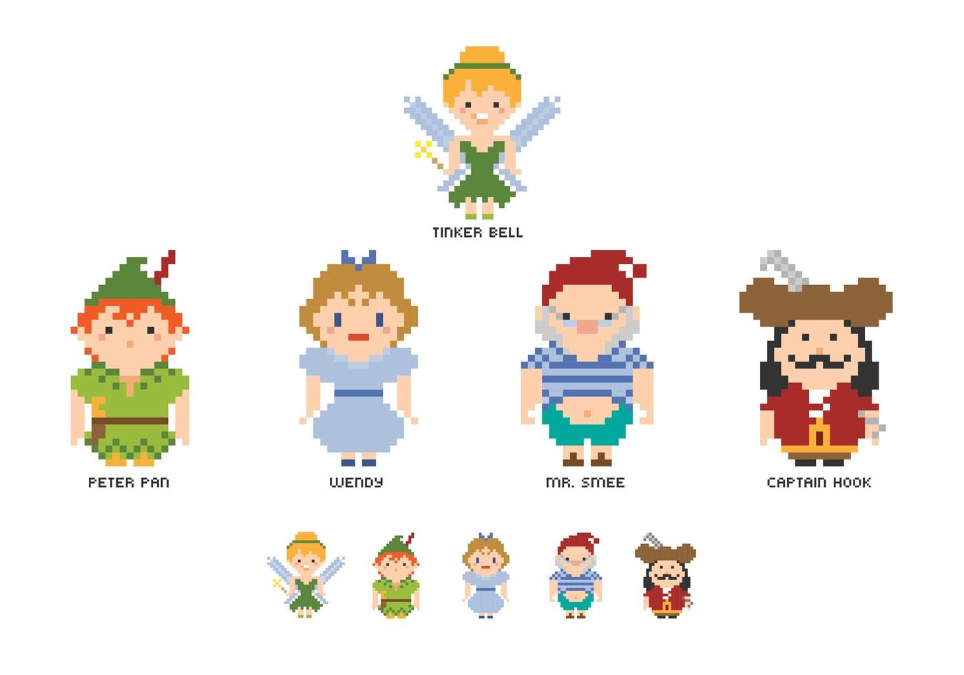 Livre Pixel Peter Pan Personagens Vector Download Vetores Gratis