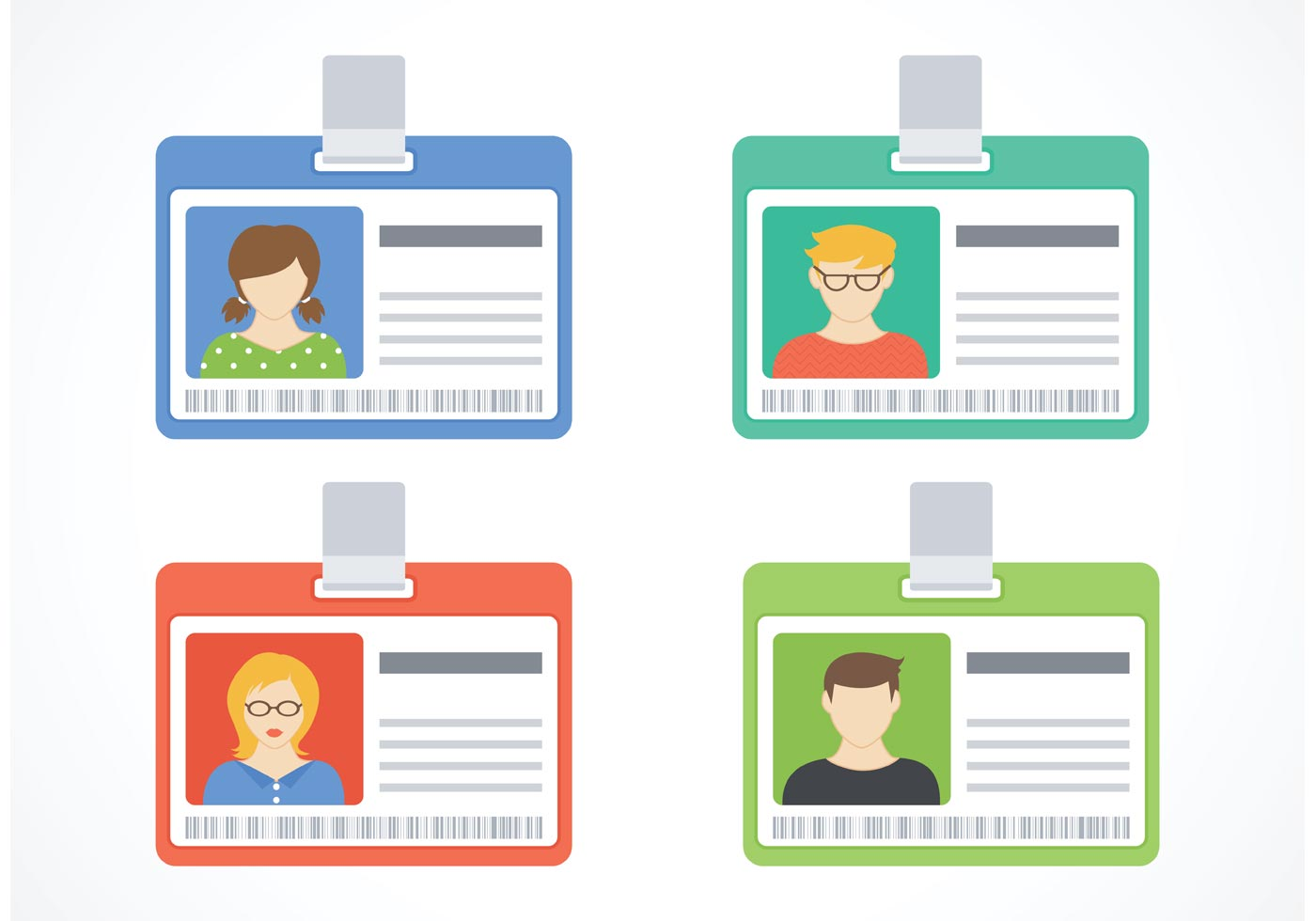 Free Identification Card Vector Set Download Free Vector