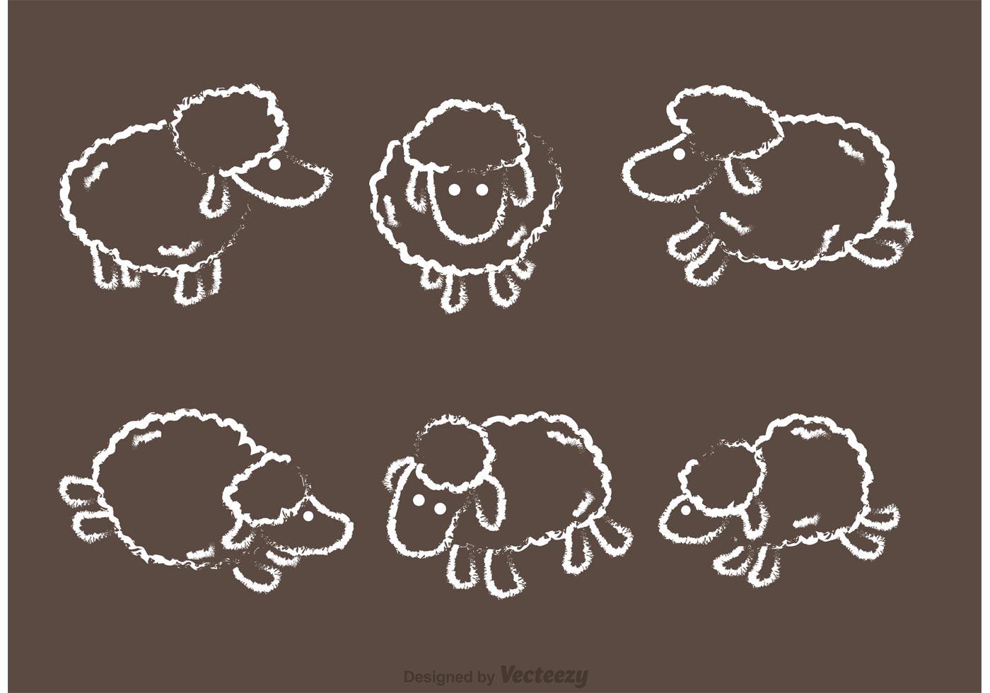 Chalk Drawn Sheep Vector Pack Download Free Vector Art