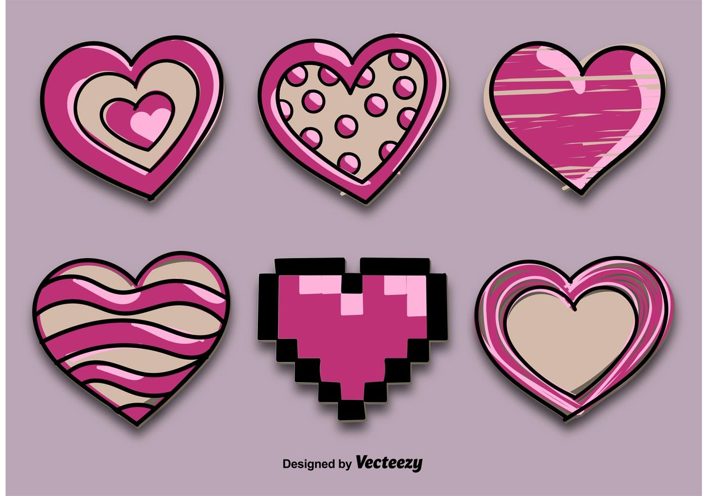 Decorative Drawn Hearts - Download Free Vector Art, Stock ...