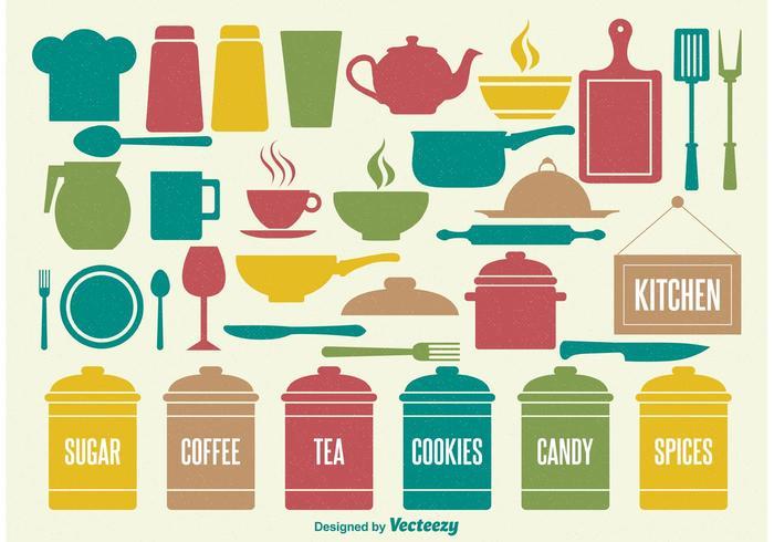 Elementos de cozinha vintage