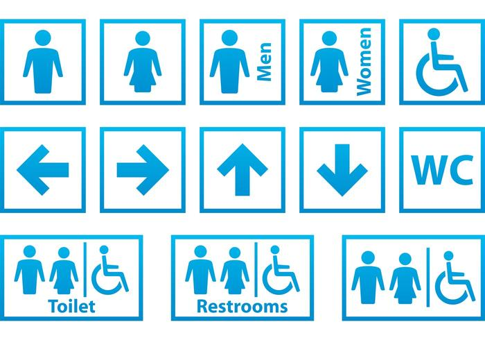 Blue and White Restroom Signals