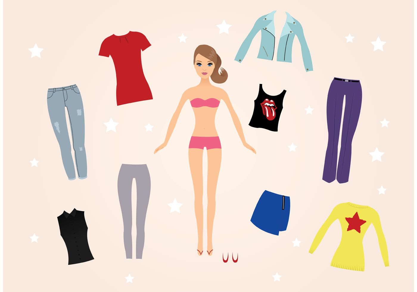 Barbie Doll Vectors Download Free Vectors Clipart Graphics Vector Art