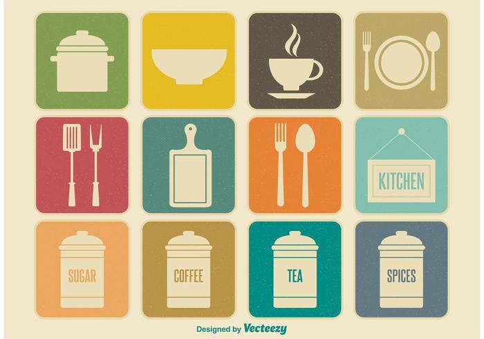 Retro Kitchen Element Icons