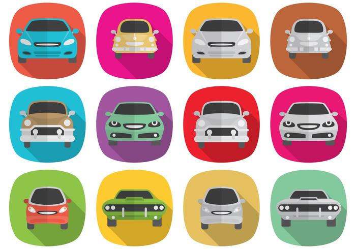 Iconos del coche largo de la sombra vector