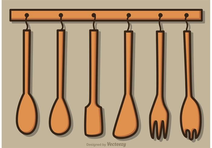 Hanging Wood Utensils Vector Pack