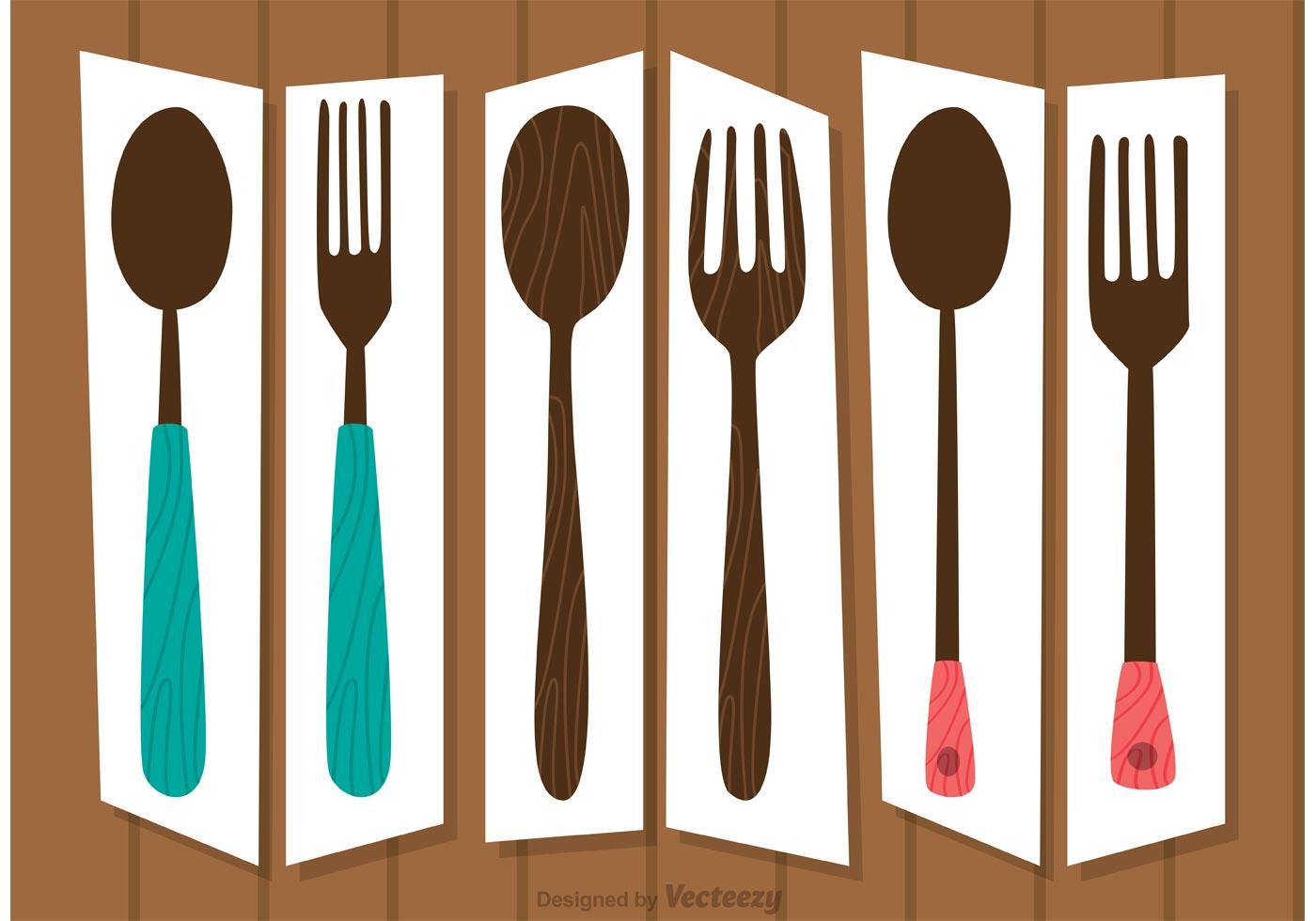 Retro Cutlery Sets Vectors Pack Download Free Vector Art