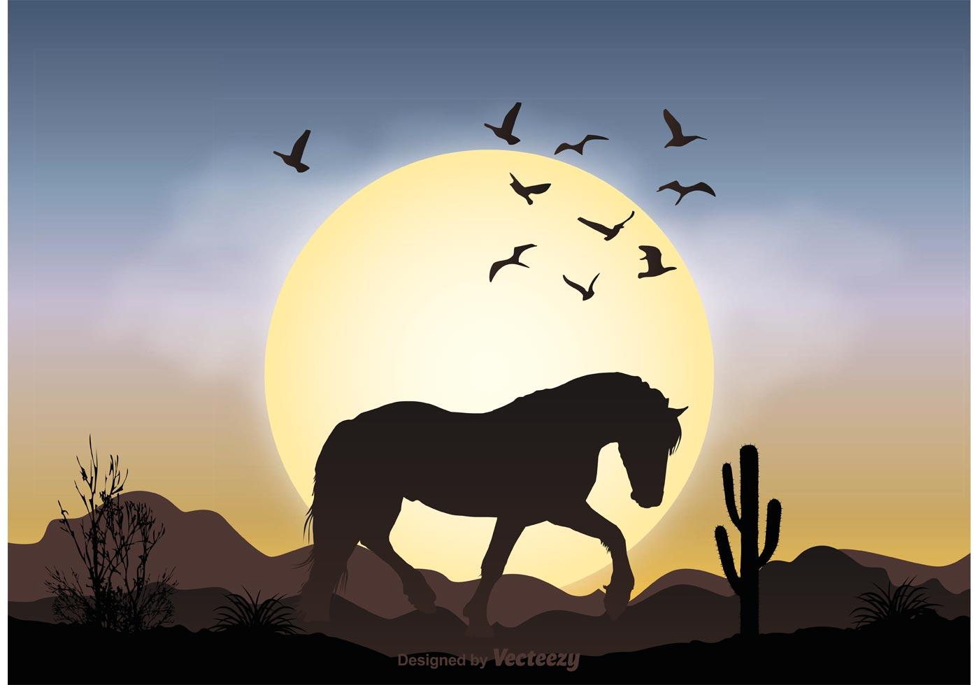 Landscape Illustration Vector Free: Wild Horse Landscape Illustration