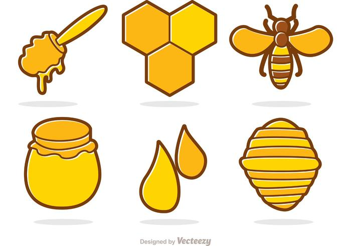 Honey And Bee Cartoon Vector