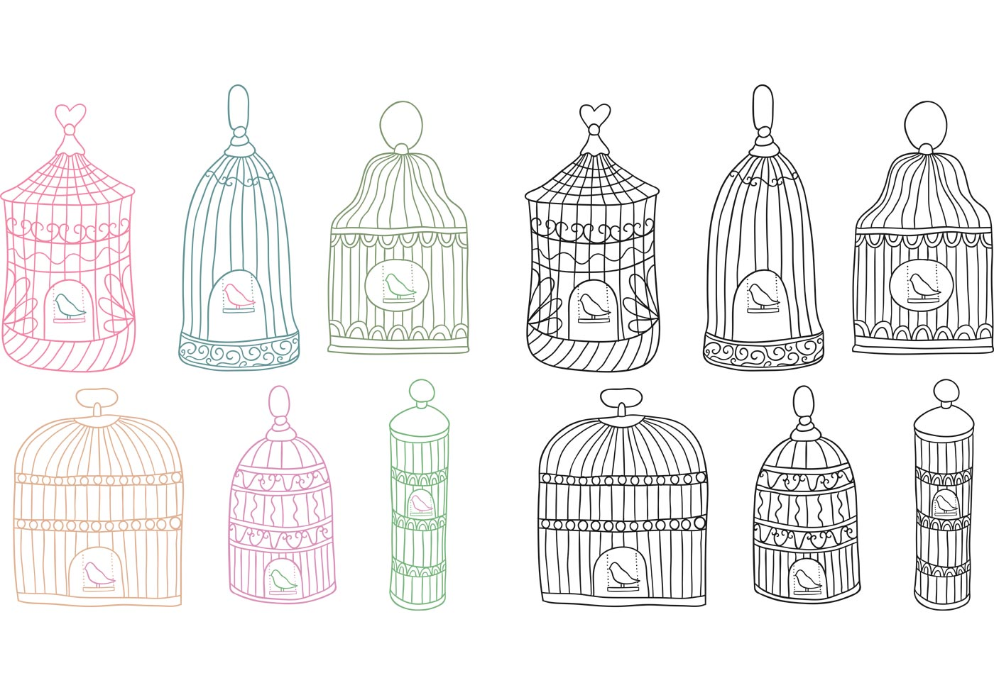 Antique bird cage drawing - photo#14
