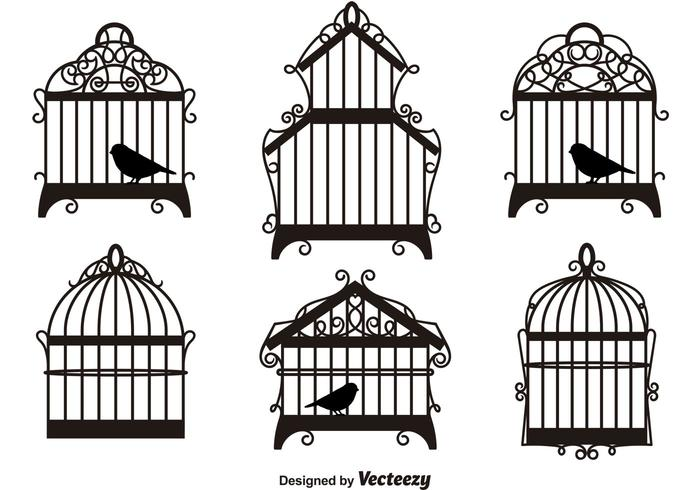 Vintage Bird Cages Silhouettes
