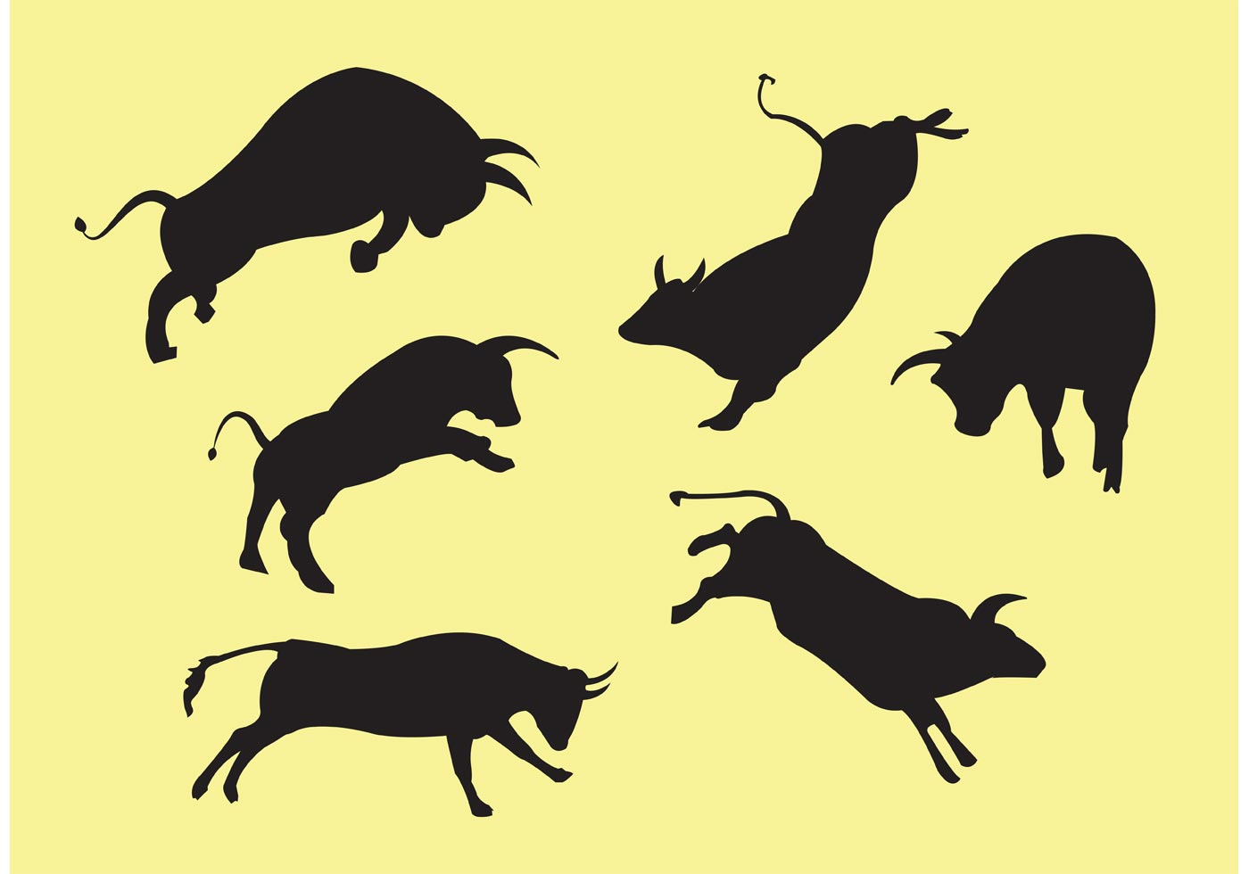charging bull vector collection download free vector art