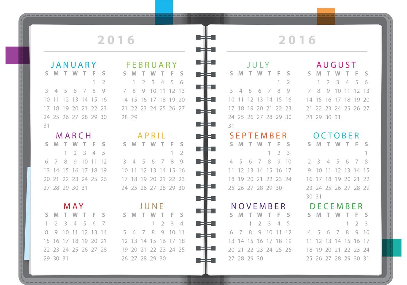 Calendar Notebook 2016 - Download Free Vector Art, Stock ...