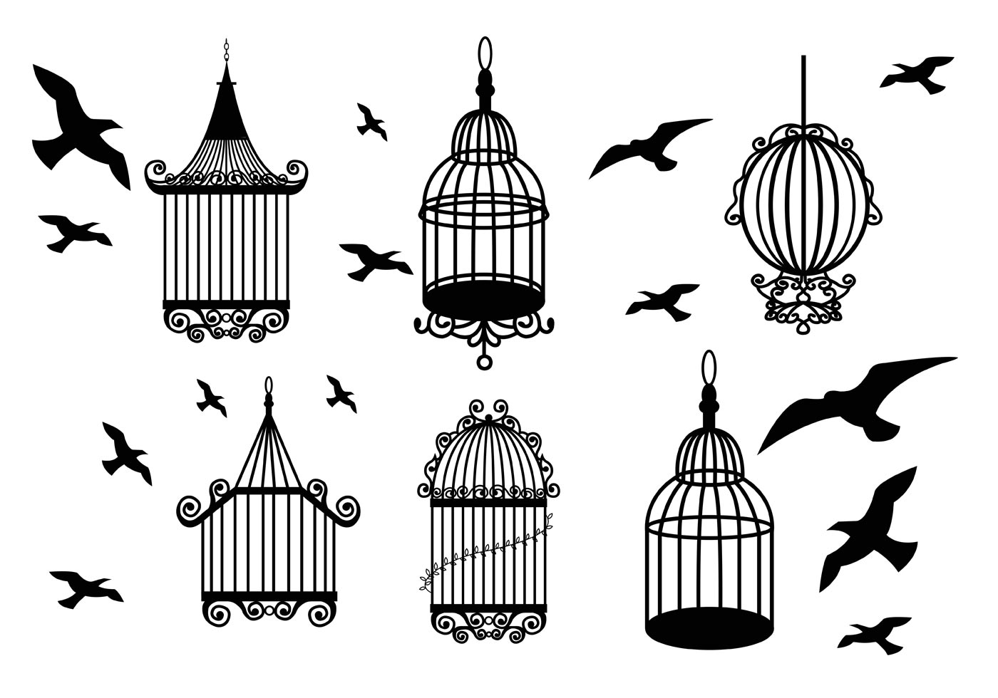 Open Birdcage Silhouette Vintage Bird Cage