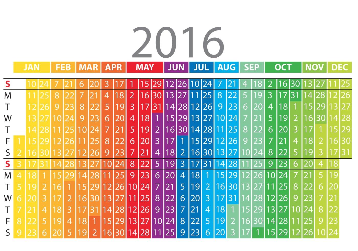 Calendar Free Vector : Colorful vertical calendar download free vector art