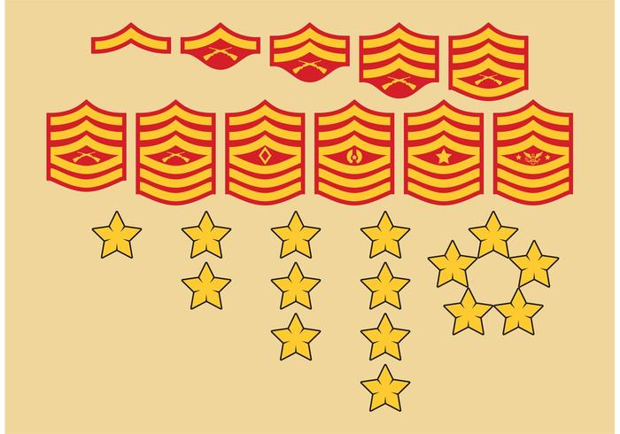 Symboles des rangs militaires vecteur