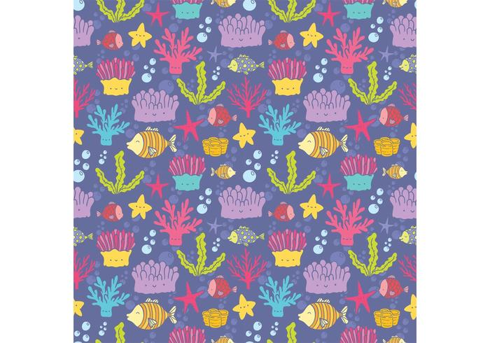 Free Coral Reef Fish Seamless Pattern Vector