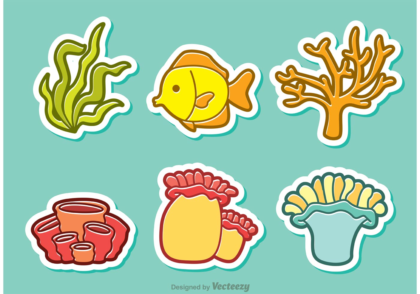 Cartoon Coral Reef And Fish Vector - Download Free Vector ...