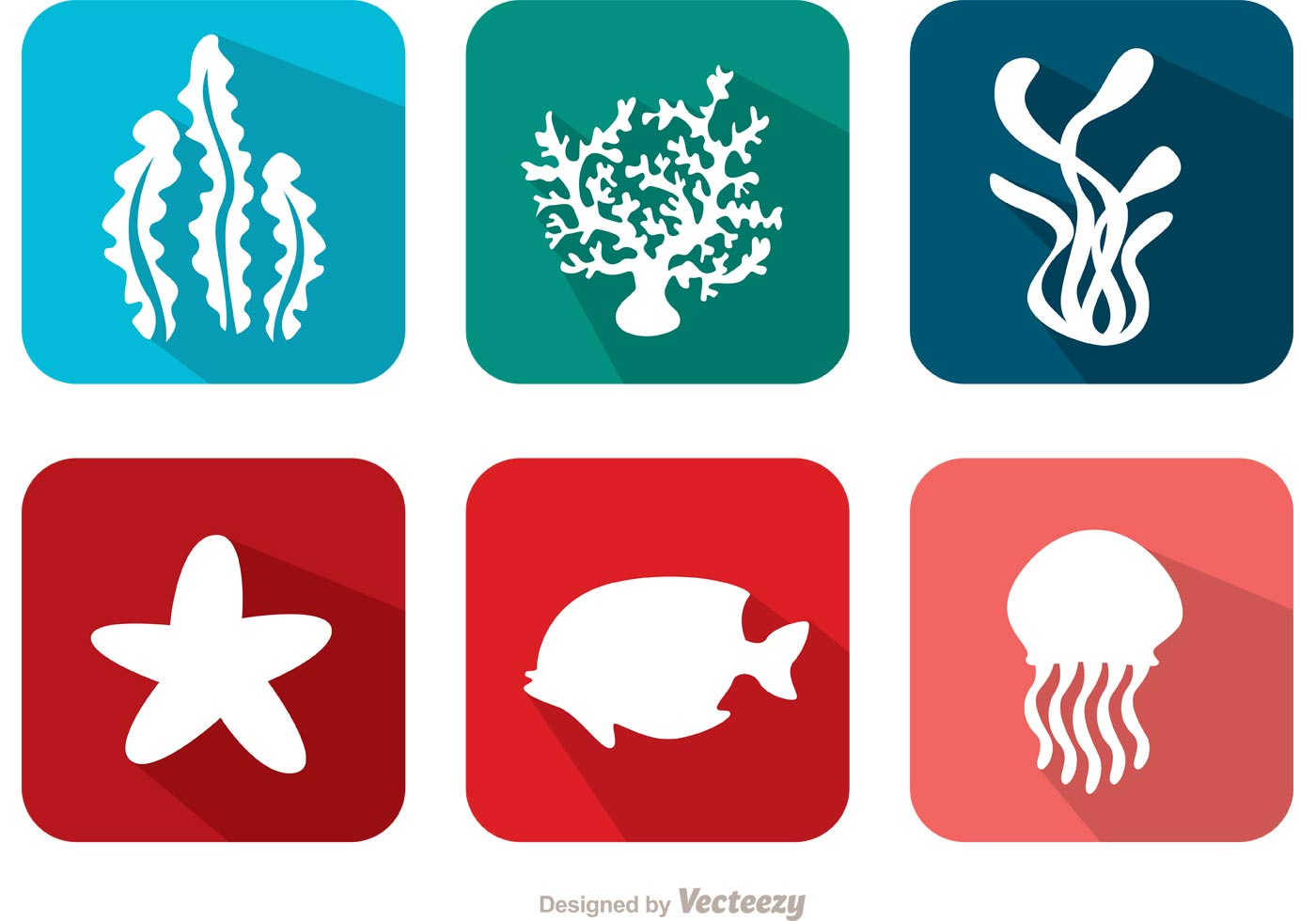 flat coral reef and fish vectors download free vector