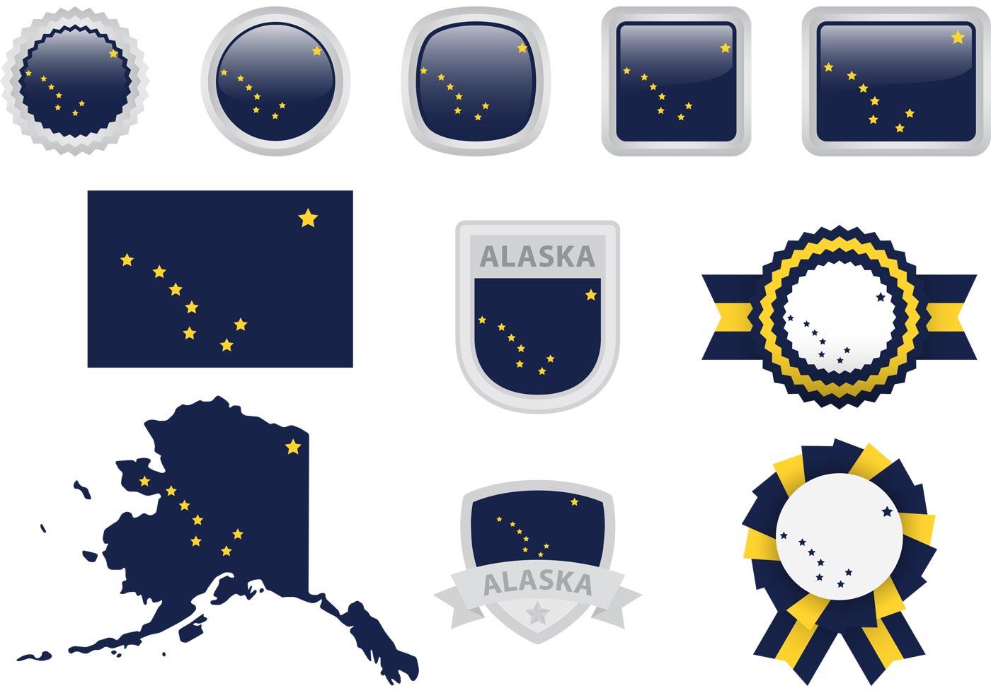 alaska flag vector icons