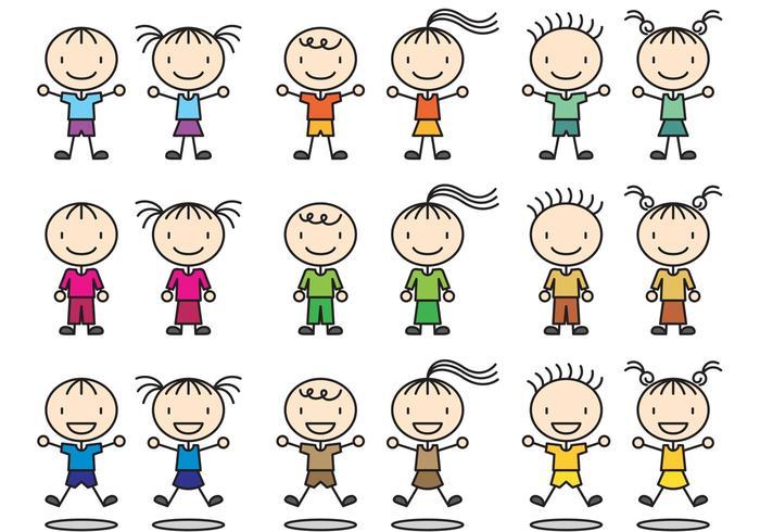 Stick Figure Icon Children