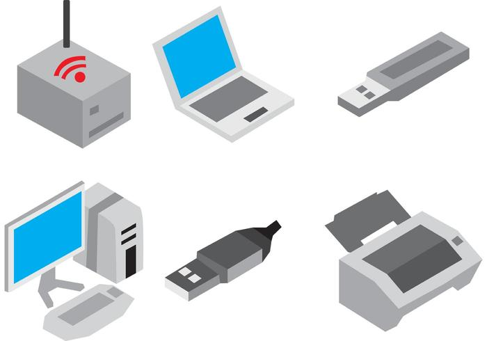 Icones vectoriales de dispositivos isométricos