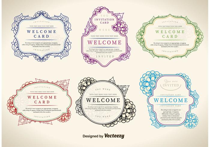 Floral Welcome Label Vectors