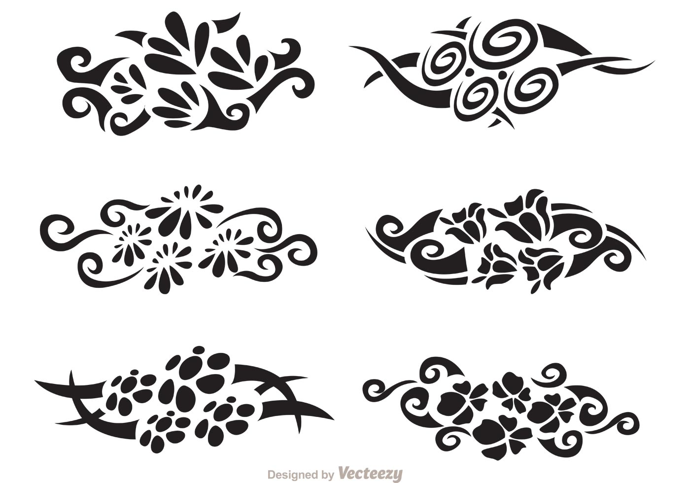 Floral Hawaiian Tribal Vector Pack Download Free Vector