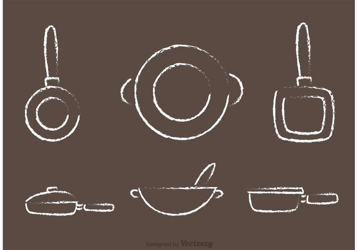 Chalk Drawn Pan con i vettori della maniglia