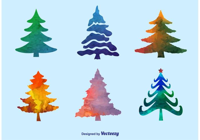 Watercolor Pine Tree Vectors