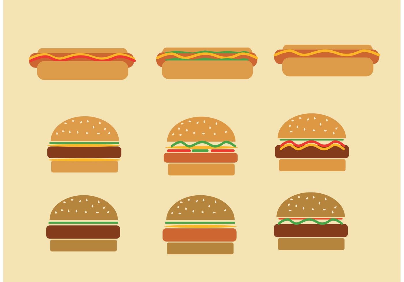 Fast Food Set Menu Yellow Gradient Background Fast Food: Fast Food Hamburgers And Hot Dog Vectors