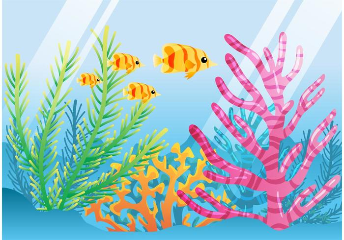 Bright Coral Reef with Fish Vector