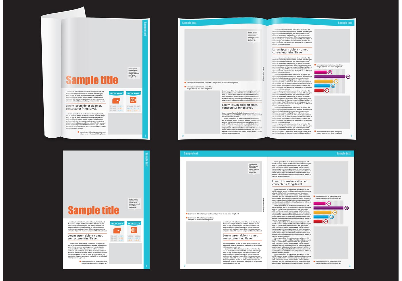 financial magazine layout template free vector