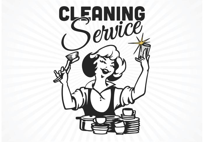 Free Retro Cleaning Service Poster Vector
