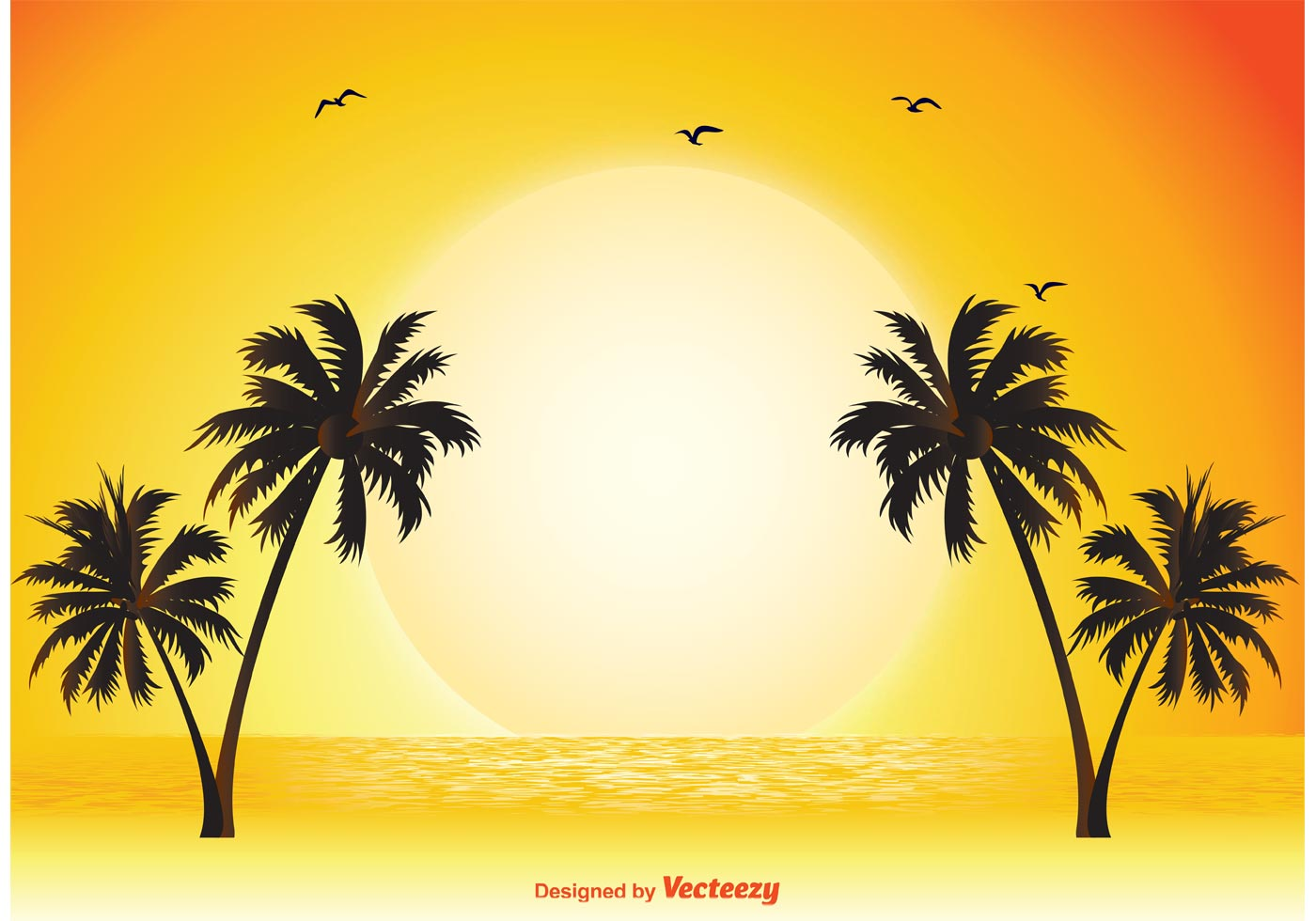 Enjoy Tropical Summer Holidays Backgrounds Vector 04 Free: Tropical Scene Illustration