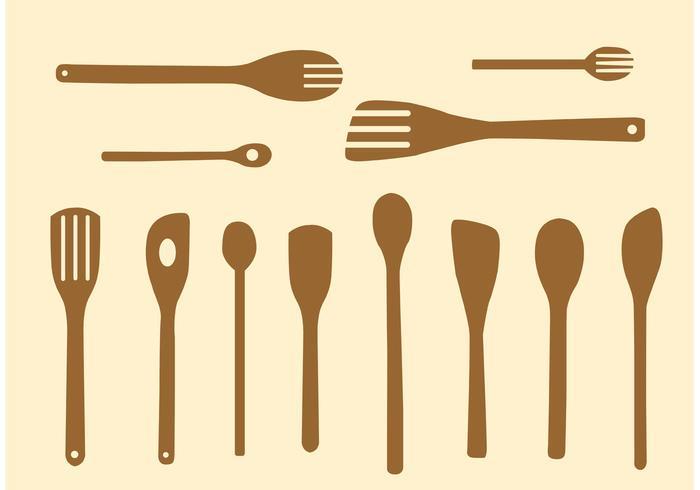 Simple Wooden Spoon Vectors