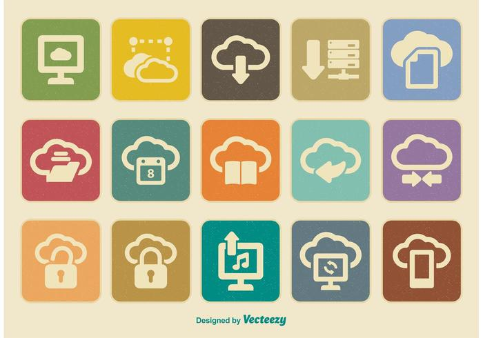 Retro Cloud Computing Icon Set vektor